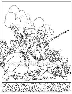 digital download unicorn adult coloring page by originalsandmore - Art Nouveau Unicorn Coloring Pages