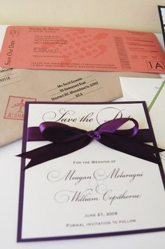 Fall Spring Summer Winter Ivory Purple White Save-the-Dates -simple, but elegant