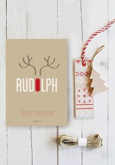 Modern Rudolph the red nosed raindeer themed Christmas card