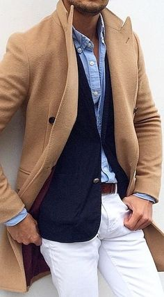 Camel cashmere topcoat, chambray, navy blue blazer and white...