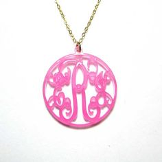 Personalized Monogram Acrylic Necklace  by JCPersonalizedGifts