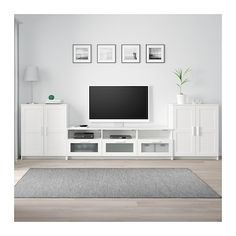 BRIMNES TV storage combination, white, 132 When it's organized by the TV it's easier to indulge in your favorite TV series. Keep your games, controls and accessories in the large drawers and feed the cords through the outlets in the back. Brimnes, Tv Furniture, Living Room Furniture, Furniture Movers, Rustic Furniture, Furniture Design, Ikea Tv Unit, Rack Tv, Ikea Living Room