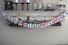 Wedding Banner Decoration - From Miss to Mrs - Bachelorette Party - Bridal Shower - Photo Prop via Etsy Best Friend Wedding, Wedding Wishes, Sister Wedding, Our Wedding, Dream Wedding, Wedding Ideas, Wedding Stuff, Trendy Wedding, Wedding Crafts