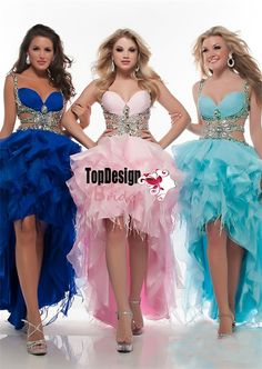 Wholesale royal blue/pink/ice blue prom dress high-low beaded 2016 new organza party dress with straps 4908