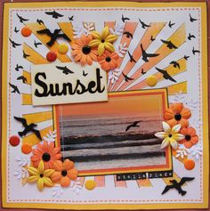 Gorgeous sunset, birds and flowers layout. #scrapbooking #layouts #paper_crafting