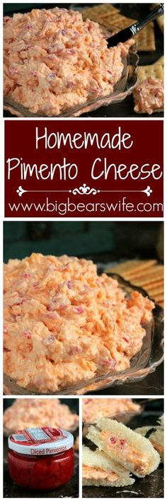 homemade Pimento cheese **Delicious and so quick to make. I put the pimentos in the Magic Bullet to make for a smoother version. Also did half the pimentos for a kid friendly version. Dip Recipes, Low Carb Recipes, Appetizer Recipes, Great Recipes, Appetizers, Favorite Recipes, Recipies, Homemade Pimento Cheese, Gastronomia