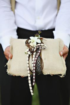 Safari inspired wedding ring bearer pillow, photos by Kay English Photography via  junebugweddings.com