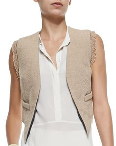 Open-Front Jute Vest W/ Fringe by Brunello Cucinelli at Bergdorf Goodman.