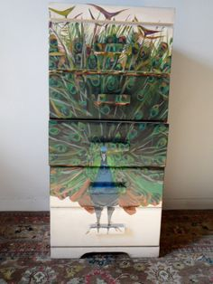 Hand-Painted Peacock Chest of Drawers