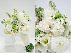 pale yellow daffodil, cream spray rose, white ranunculus and scabiosa, pale pink lilac and ornithogalum