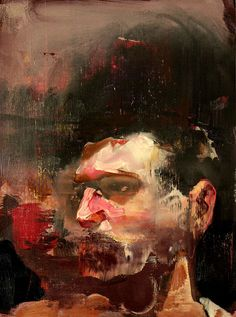 Self-Portrait No. 3 | 2010 | Oil on canvas | 46 × 34 cm by Adrian Ghenie. (via Nolan Judin · Adrian Ghenie: The Hunted · Selected works from the exhibition)