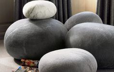 South African designer Ronel Jordaan is self taught and constantly inspired by nature and felted material; she transformed that unique love affair into high concept furniture pieces for your space. Bring the wild outdoors into your home with these soft wool rock cushions that will surprise and delight your guests.