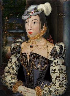 'BLUE ARSON IN TUILERIES' ~ Marguerite de Valois (1553-1615) - Queen of Navarre 1572 and Queen of France 1589 - married to HENRI IV DE BOURBON - daughter of HENRI II DE VALOIS & CATHERINE DE MEDICI