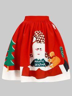 Plus Size Christmas Elk Knee Length Skirt Plaid Mini Skirt, Mini Skirts, Plus Size Halloween, Plus Size Vintage, Cheap Skirts, Plus Size Skirts, Clothing Sites, Ugly Christmas Sweater, Printed Skirts