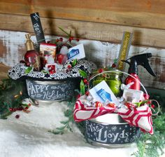 Paint Can Holiday Hostess or New Home Gift Idea. Use chalkboard paint to personalize.