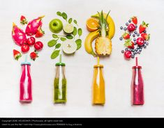 colorful smothies with fresh fruits, food styling, still life inspiration, flat lay