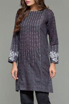 Dark Gray Embroidered Cambric Kurti