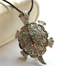 Silver Crystal Sea Turtle Necklace Pendant Pin Brooch Sea Life Aurora Crystals #Sparkle #Pendant