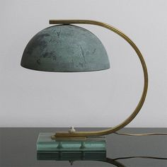 Boris Lacroix; Brass, Glass and Patinated Bronze Table Lamp, 1930.