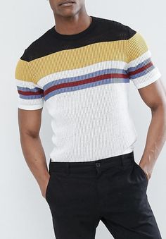 ASOS TALL Mesh Stripe T-Shirt from ASOS (men, style, fashion, clothing, shopping, recommendations, stylish, menswear, male, streetstyle, inspo,  outfit, fall, winter, spring, summer, ad, personal)