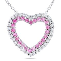 Sterling Silver Created Pink #Sapphire and #Diamond Heart #Pendant Necklace (.02 Cttw, G-H Color, I2-I3 Clarity), 18 Inch