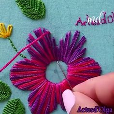 Hand Embroidery For Beginners Hand Embroidery For Beginners Embroidery Designs Aari Embroidery Machine For Beginners Hand Embroidery Patterns Flowers, Hand Embroidery Videos, Embroidery Stitches Tutorial, Embroidery Flowers Pattern, Hand Embroidery Designs, Creative Embroidery, Simple Embroidery, Islamic Page, Handmade House