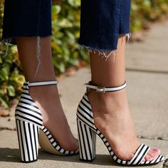 'Neri' Two-Strap Block Heels