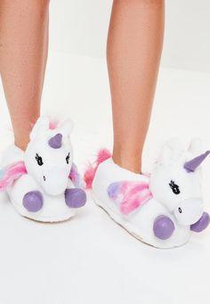 White Unicorn Slippers - Missguided