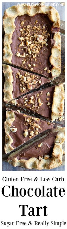 This really simple and decadently creamy low carb chocolate tart is assembled in minutes. It is gluten free, keto, low carb and sugar free.