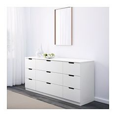 IKEA - NORDLI, 9-drawer chest, , Of course your home should be a safe place for the entire family. That's why hardware is included so that you can attach the chest of drawers to the wall.You can use one modular chest of drawers or combine several to get a storage solution that perfectly suits your space.You can easily create your own personal design by mixing chests of different colors.Integrated damper catches the running drawer and closes it slowly, silently and softly.The concealed drawer…