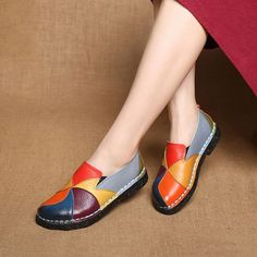 DONGNANFENG Women's Ladies Female Woman Shoes Flats Mother Shoes Cow Genuine Leather Loafers Ballerina Colorful Non Slip On Zapatillas Mujer Ballet Designer Mocassin Femme Slip-On Mixed Colors Plus size Heel Pumps, Low Heel Shoes, Low Heels, Women's Shoes, Flat Shoes, Golf Shoes, Dress Shoes, Buy Shoes, Footwear Shoes