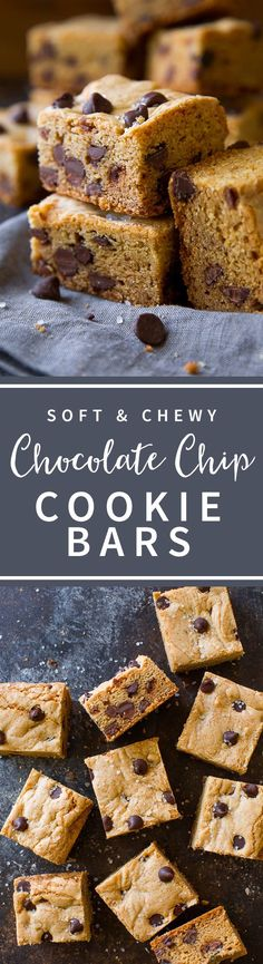 The best chocolate chip cookie bars! Soft and chewy with lots of chocolate chips! Homemade chocolate chip cookie dough