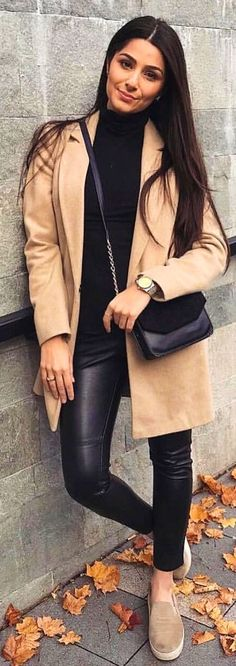 #winter #outfits beige suede coat and black turtleneck shirt with black pants