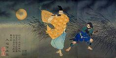 Fujiwara no Yasumasa Gekka Byobuzu (藤原保昌月下弄笛図) / Tsukioka Yoshitoshi (Japanese Ukiyo-e Printmaker, 1839–1892)