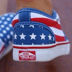 Original vans with american flag print (: