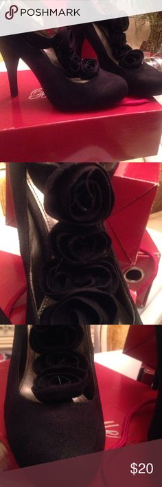 Beautiful black suede shoes Black suede shoes with sexy rose about 4 in Shoes Heels