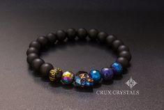 Herren Blau Swarovski Crystal Skull Perlen Armband von CruxCrystals
