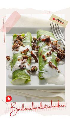 """""""Alles, außer süß"""" ist heute dein Motto? Dann stell schon mal die Pfanne bereit. Heute haben wir etwas besonders raffiniertes im Sinn. Ein tolles Frühlingsgericht! Jetzt werden unsere allseits beliebten Palatschinken würzig verfeinert und grün g'schupft. So hast du den zart gerollten Genuss mit seiner erfrischender Füllung aus Zitrone und Sauerrahm sicher noch nie probiert! 😋🍃 Motto, Food, Lemon, Artichokes, Vegetarian, Essen, Meals, Mottos, Yemek"""