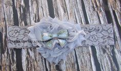 Girl Headband, Lace Headband, Cotton Flowers, Sequin Bow, Photo Shoot Prop by OurKraftyCreations on Etsy