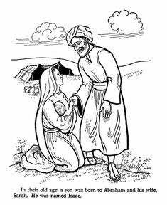 Isaac is born to Abraham and Sarah when they are old. Bible coloring pages