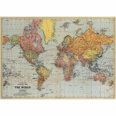 WINNER! At $3.95 I couldn't do any better for a world map for our little man's room! Cavallini World Map Wrapping Paper