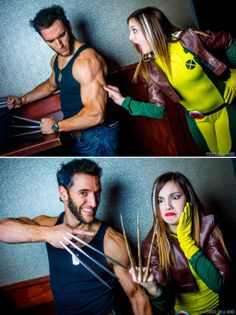 Characters: Wolverine (James Howlett, aka Logan) & Rogue (Anna Marie) / From: MARVEL Comics 'X-Men' / Cosplayers: Lon Brown (aka Lonstermash) as Wolverine & Cosplay Tay as Rogue / Photography: York In A Box / Event: Phat-Con 2014 Rogue Cosplay, Epic Cosplay, Male Cosplay, Amazing Cosplay, Xmen Cosplay, Cosplay Diy, Cosplay Ideas, Rogue And Wolverine, Wolverine Cosplay