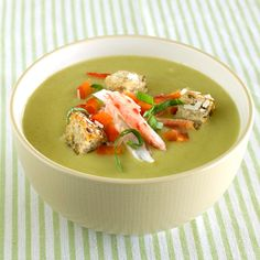 Creamy Asparagus Soup. By ditching the requisite heavy cream and butter, we've stripped our creamy asparagus soup of its potentially weighty calorie count – it rings in at just over 200 calories and includes succulent toppers like crabmeat, Parmesan, bread cubes and more!