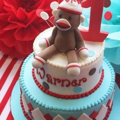 Good Ol' Sock Monkey Birthday Party {Monkey Party Ideas} This is an adorable party with a old fashioned sock monkey theme. Sock Monkey Cakes, Monkey Birthday Cakes, Sock Monkey Party, Monkey Birthday Parties, 1st Boy Birthday, Birthday Ideas, Monkey Monkey, Bebe 1 An, Cute Cakes