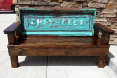 Home made 1962 Chevy stepside tailgate Bench Car Furniture, Pallet Furniture, Outdoor Furniture, Outdoor Decor, Outdoor Living, Man Cave Garage, Small Wood Projects, Home Projects, Truck Tailgate Bench