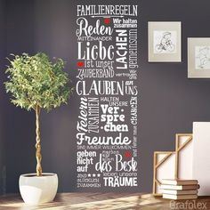 Wandtattoo Familienregeln Familie Zuhause Liebe Wohnzimmer Wandaufkleber Wandsticker Wandbild Wand Deko Sticker Aufkleber ws17c von Grafolex