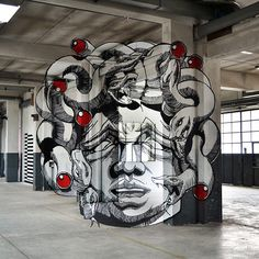 """Medusa, Anamorph"" painted by Ninja1 and Mach505 (Truly Design Crew). #streetart jd"