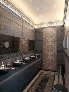 Washing room near mans majlisArabic style interior design Moroccan Design, Moroccan Decor, Arabic Decor, Decorative Wall Tiles, Moroccan Interiors, Toilet Design, Ceiling Design, Bathroom Interior, Interiores Design