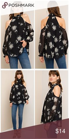 AVAILABLE Stunning black cold shoulder Tunic Floral print open-shoulder top featuring ruffled high neck. Smocked sleeves. Back keyhole button closure. Non-sheer. Woven. Lightweight. Tops Tunics
