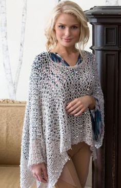 Glamour Kaftan Free Crochet Pattern from Red Heart Yarns - crochet poncho Crochet Shawls And Wraps, Crochet Scarves, Crochet Clothes, Crochet Sweaters, Moda Crochet, Free Crochet, Knit Crochet, Easy Crochet, Crochet Shrugs